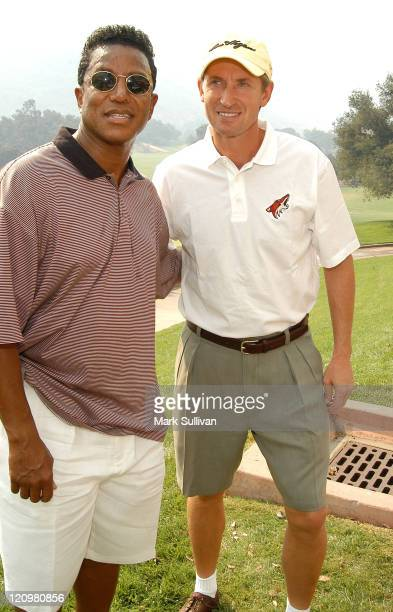 Jermaine Jackson and Wayne Gretzky during Robert Urich Memorial Golf Classic at Sherwood Country Club in Thousand Oaks California United States