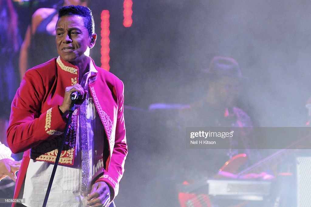 Jermaine Jackson of the Jacksons performs on stage in concert at Manchester Apollo on February 27, 2013 in Manchester, England.