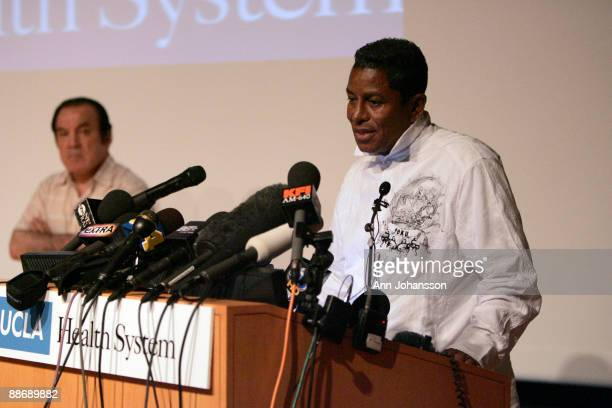 Jermaine Jackson speaks about his brother Michael Jackson's death while Michael Jackson's spokesman Dr Tohme Tohme listens during a press conference...