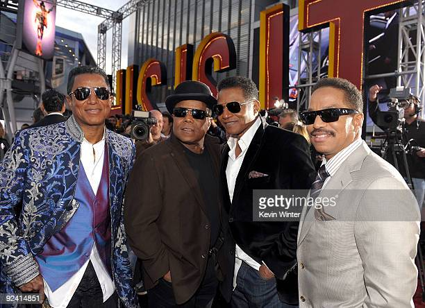 Jermaine Jackson Tito Jackson Jackie Jackson and Marlon Jackson arrive at the premiere of Sony Pictures' 'This Is It' held at Nokia Theatre Downtown...