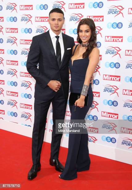 Jermaine Jenas and Ellie Penfold attend the Pride of Sport awards at Grosvenor House on November 22 2017 in London England