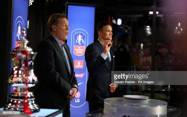 Jermaine Jenas and Glenn Hoddle react after Liverpool v Everton is drawn out during the Emirates FA Cup 3rd round draw before the Emirates FA Cup...
