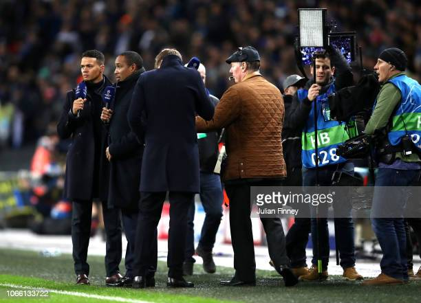 Jermaine Jenas and Paul Ince are seen ahead of the UEFA Champions League Group B match between Tottenham Hotspur and FC Internazionale at Wembley...