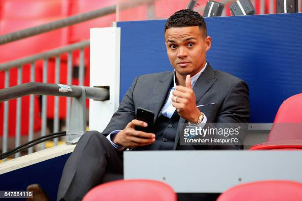 Jermaine Jenas ex Tottenham Hotspur player is seen prior to the Premier League match between Tottenham Hotspur and Swansea City at Wembley Stadium on...