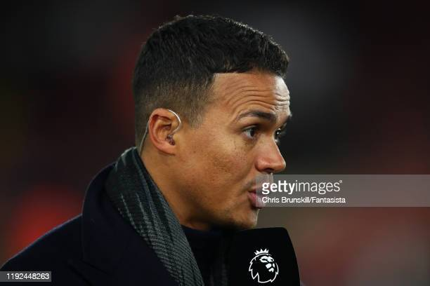 Jermaine Jenas looks on during the Premier League match between Sheffield United and Newcastle United at Bramall Lane on December 05, 2019 in...