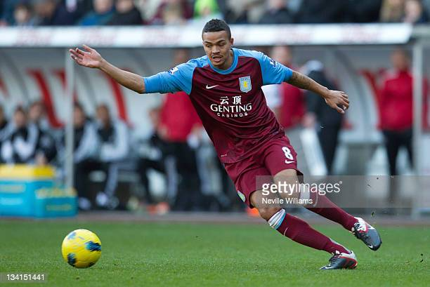 Jermaine Jenas of Aston Villa in action during the Barclays Premier League match between Swansea and Aston Villa at Liberty Stadium on November 27...