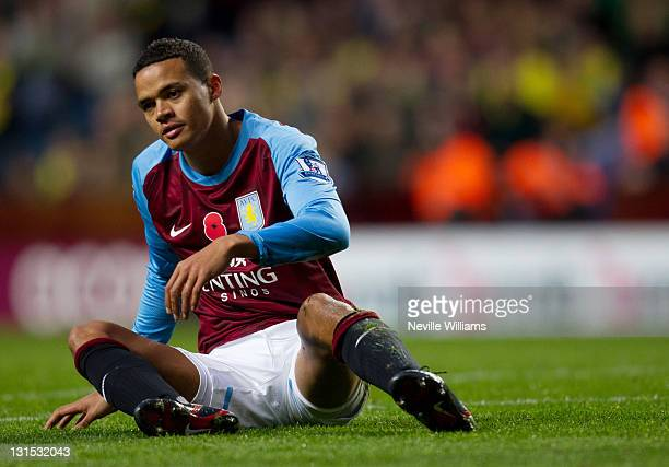 Jermaine Jenas of Aston Villa looks frustrated during the Barclays Premier League match between Aston Villa and Norwich City at Villa Park on...