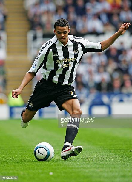 Jermaine Jenas of Newcastle United in action during the Barclays Premiership game between Newcastle and Chelsea at St James Park on May 15, 2005 in...