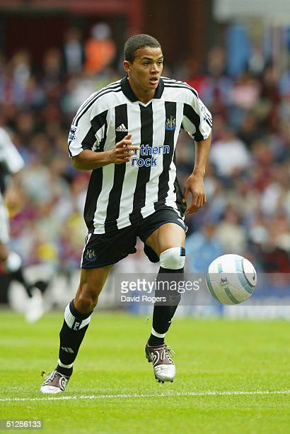 Jermaine Jenas of Newcastle United runs with the ball during the Barclays Premiership match between Aston Villa and Newcastle United at Villa Park on...