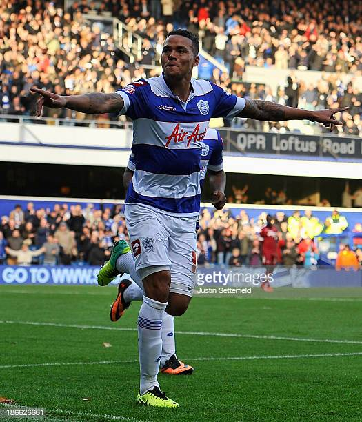 Jermaine Jenas Of Queens Park Rangers celebrates after scoring the opening goal during the Sky Bet Championship match between Queens Park Rangers and...