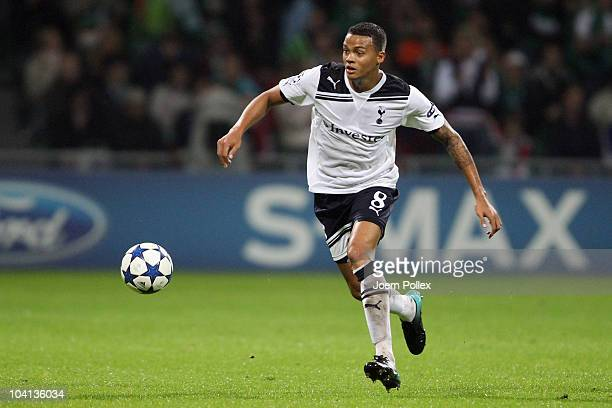 Jermaine Jenas of Tottenham controls the ball during the UEFA Champions League group A match between SV Werder Bremen and Tottenham Hotspur at Weser...