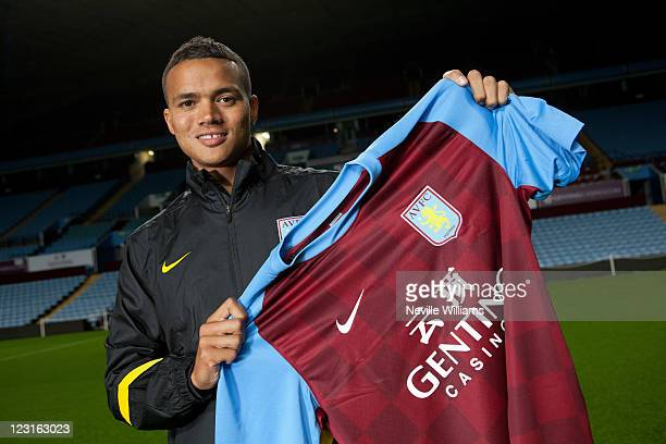 Jermaine Jenas poses after signing for Aston Villa at Villa Park on August 31, 2011 in Birmingham, England.