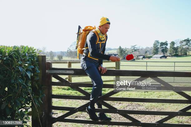 Jermaine Jenas walking during Day 2 of The One Show's Red Nose and Spoon Race on March 9,2020 in England. Alex Scott and Jermaine Jenas go...
