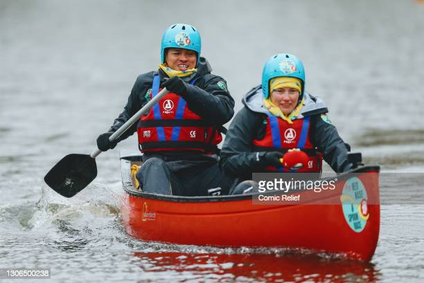 Jermaine Jenas with his team, kayaking on day 3 of The One Show's Red Nose and Spoon Race on March 10,2021 in England. Alex Scott and Jermaine Jenas...
