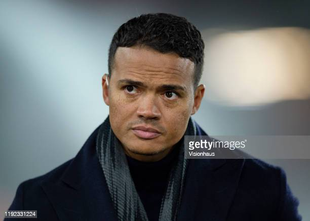 Jermaine Jenas working as a pundit for Amazon Prime before the Premier League match between Sheffield United and Newcastle United at Bramall Lane on...