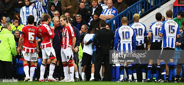 Jermaine Johnson of Sheffield Wednesday is sent off after being substituted during the CocaCola Championship match between Sheffield Wednesday and...