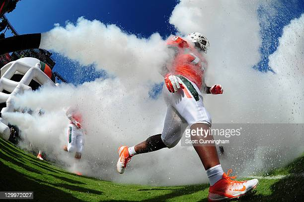 Jermaine Johnson of the Miami Hurricanes takes the field before the game against the Georgia Tech Yellow Jackets at Sun Life Stadium on October 22,...