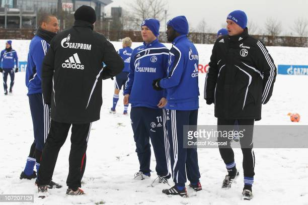 Jermaine Jones , Alexander Baumjohann and Hans Sarpei attend the FC Schalke training session of the second team at the training ground on November...