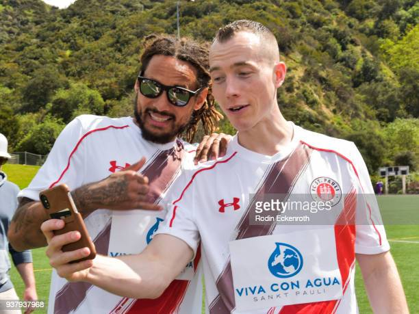 Jermaine Jones and DJ Skee at Viva Con Agua's 1st annual Waterweek LA celebrity soccer match at Glendale Sports Complex on March 25, 2018 in...