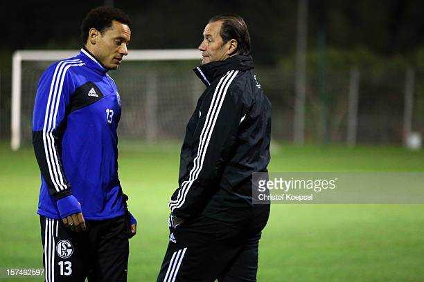 Jermaine Jones and heasd coach Huub Stevens talk during the training session of FC Schalke 04 at training ground of Montpellier ahead of the UEFA...