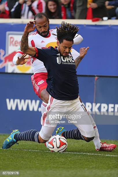 Jermaine Jones New England Revolution and Thierry Henry New York Red Bulls challenge for the ball during the New York Red Bulls Vs New England...