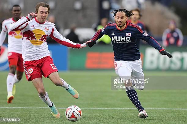 Jermaine Jones New England Revolution challenged by Eric Alexander New York Red Bulls during the New England Revolution Vs New York Red Bulls MLS...