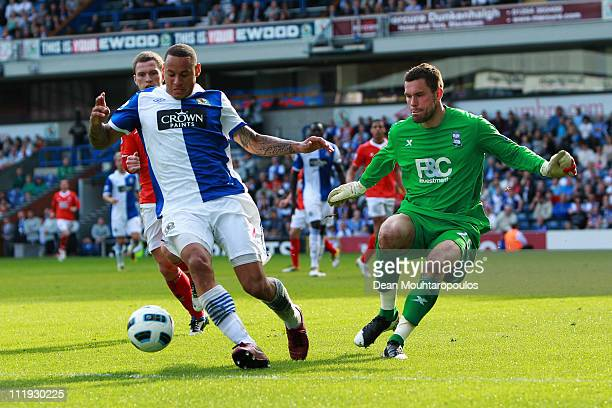 Jermaine Jones of Blackburn battles with Ben Foster of Birmingham City during the Barclays Premier League match between Blackburn Rovers and...