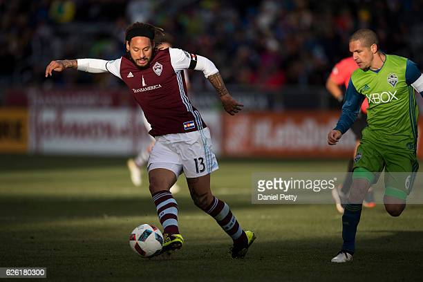 Jermaine Jones of Colorado Rapids controls the ball against Osvaldo Alonso of Seattle Sounders during the second half of the second leg of the...