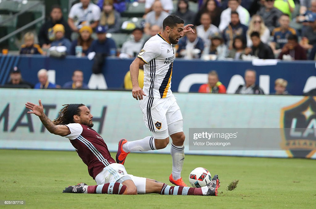 Jermaine Jones #13 of Colorado Rapids slides to play the ball from Sebastian Lletget #17 of Los Angeles Galaxy during leg one of the Audi 2016 MLS Cup Playoff Western Conference Semfinal between the Colorado Rapids and the Los Angeles Galaxy at StubHub Center on October 30, 2016 in Carson, California. The Galaxy defeated the Rapids 1-0 in leg one of the two game playoff Western Conference Semifinal series.
