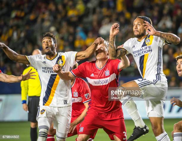 Jermaine Jones of Los Angeles Galaxy goes up for a header during Los Angeles Galaxy's MLS match against Chicago Fire at the StubHub Center on May 6...