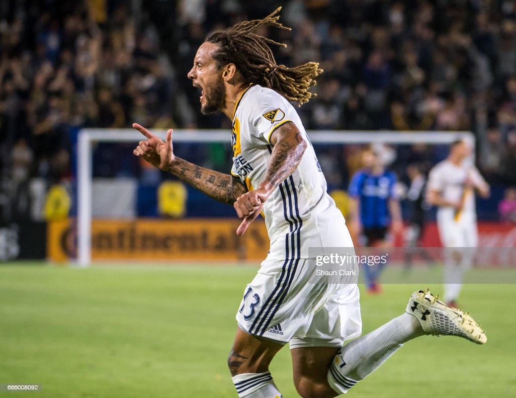 Jermaine Jones #13 of Los Angeles Galaxy scores his first goal for the Los Angeles Galaxy during Los Angeles Galaxy's MLS match against Montreal Impact at the StubHub Center on April 7, 2017 in Carson, California. The LA Galaxy won the match 2-0.