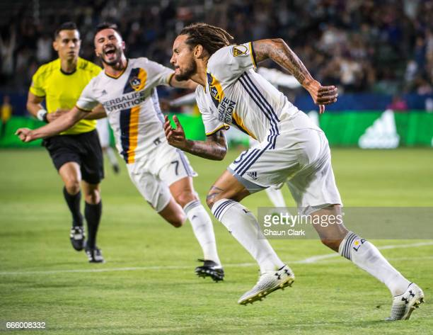 Jermaine Jones of Los Angeles Galaxy scores his first goal for the Los Angeles Galaxy during Los Angeles Galaxy's MLS match against Montreal Impact...
