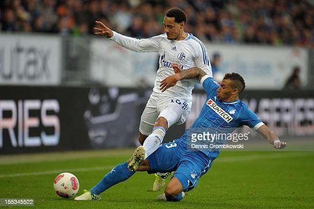 Jermaine Jones of Schalke and Daniel Williams of Hoffenheim battle for the ball during the Bundesliga match between TSG 1899 Hoffenheim and FC...