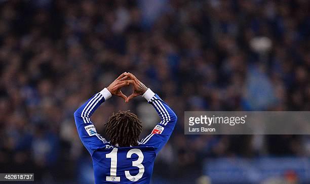 Jermaine Jones of Schalke celebrates after scoring his teams third goal during the Bundesliga match between FC Schalke 04 and VfB Stuttgart at...