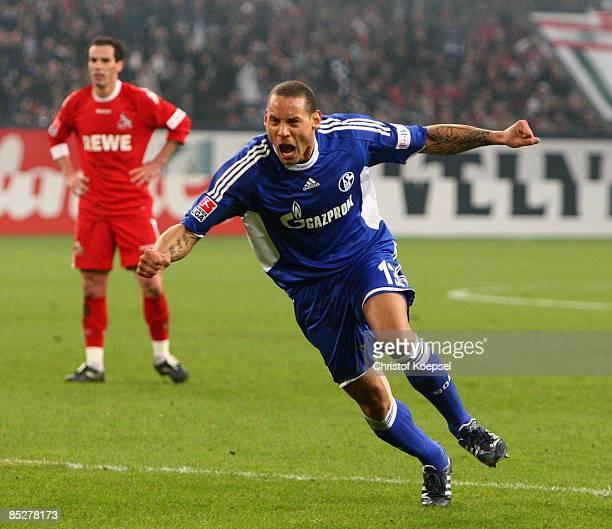 Jermaine Jones of Schalke celebrates his first goal during the Bundesliga match between FC Schalke 04 and 1 FC Koeln at the VeltinsArena on March 6...