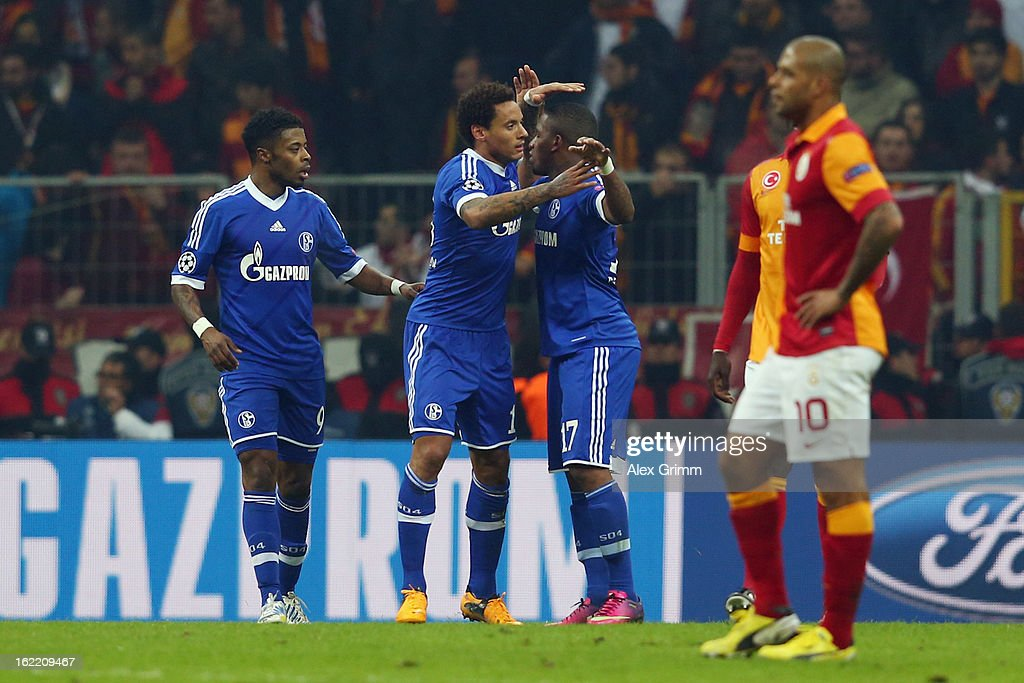 Jermaine Jones of Schalke celebrates his team's first goal with team mates during the UEFA Champions League Round of 16 first leg match between Galatasaray and FC Schalke 04 at the Turk Telekom Arena on February 20, 2013 in Istanbul, Turkey.