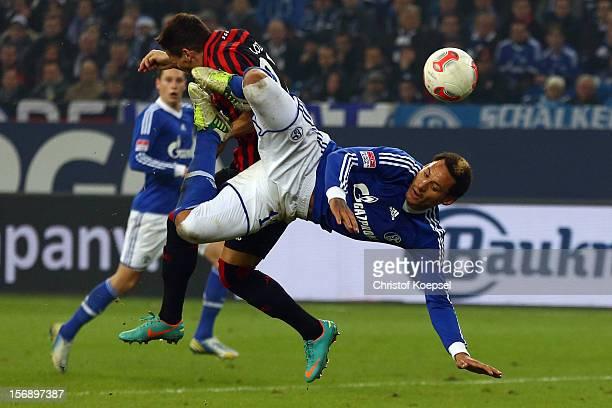 Jermaine Jones of Schalke does an overhead kick during the Bundesliga match between FC Schalke 04 and Eintracht Frankfurt at VeltinsArena on November...