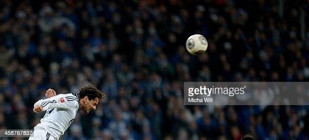 Jermaine Jones of Schalke jumps for a header during the Bundesliga match between 1 FC Nuernberg and FC Schalke 04 at Grundig Stadium on December 21...