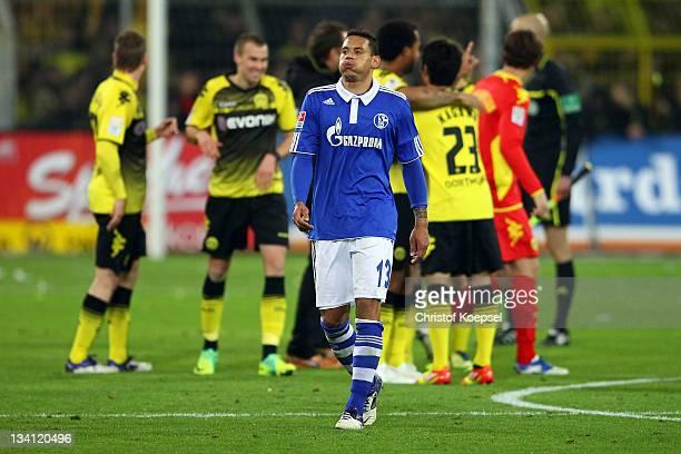 Jermaine Jones of Schalke looks dejected after losing 02 the Bundesliga match between Borussia Dortmund and FC Schalke 04 at Signal Iduna Park on...