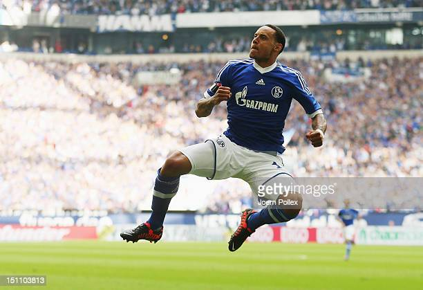 Jermaine Jones of Schlake celebrates after scoring his team's second goal during the Bundesliga match between FC Schalke 04 and FC Augsburg at...