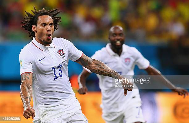 Jermaine Jones of the United States celebrates after scoring his team's first goal during the 2014 FIFA World Cup Brazil Group G match between the...