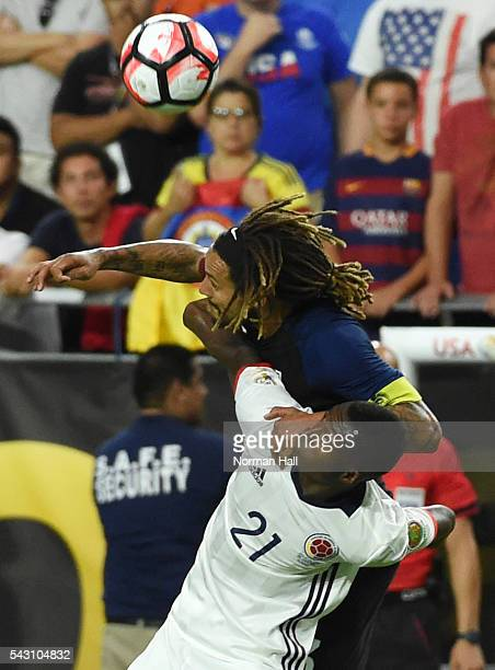 Jermaine Jones of the United States heads the ball while jumping over Marlos Moreno of Columbia during a third place match between United States and...