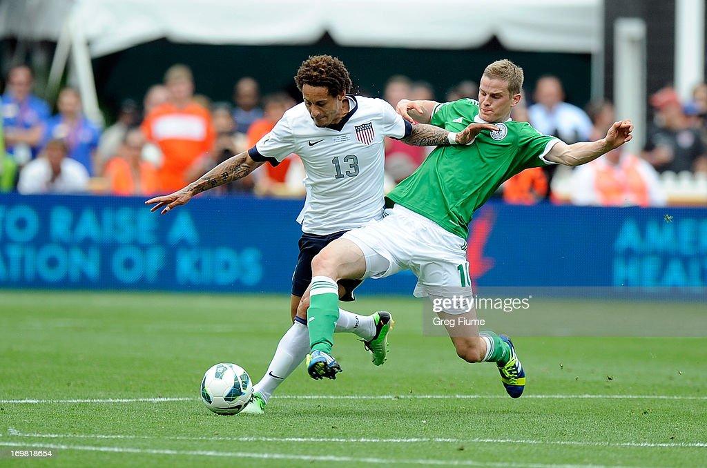 Jermaine Jones #13 of the United States Men's National Team battles for the ball against Sven Bender #16 of the Germany Men's National Team in an international friendly at RFK Stadium on June 2, 2013 in Washington, DC.