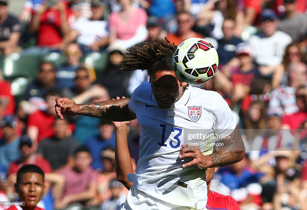 Jermaine Jones #13 of the USA heads the ball during the international men's friendly match against Panama at StubHub Center on February 8, 2015 in Los Angeles, California. The USA defeated Panama 2-0.