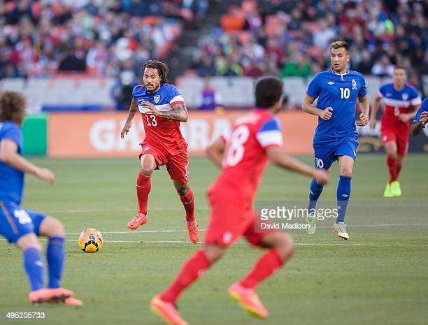 Jermaine Jones of the USA Men's National Soccer Team dribbles the ball during a match between the USA and Azerbaijan played on May 27, 2014 at...
