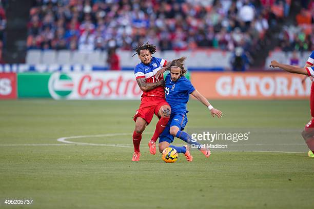 Jermaine Jones of the USA Men's National Soccer Team fights for a ball during a match between the USA and Azerbaijan played on May 27, 2014 at...