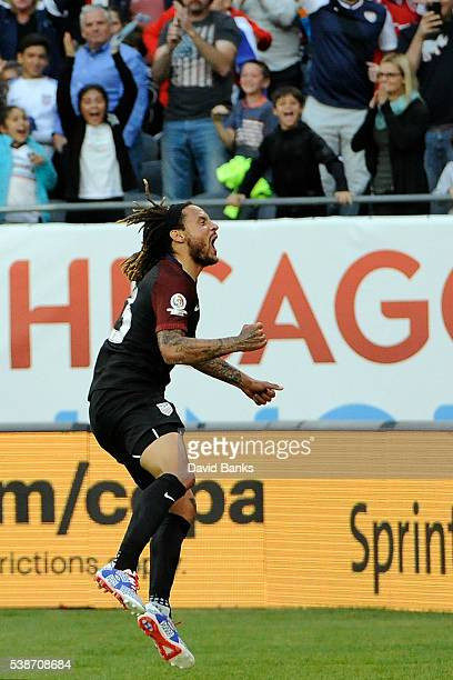 Jermaine Jones of United States celebrates after scoring the second goal of his team during a group A match between United States and Costa Rica at...