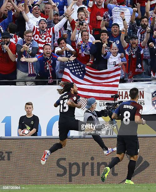 Jermaine Jones of United States leaps in the air after scoring a goal against Costa Rica during a match in the 2016 Copa America Centenario at...
