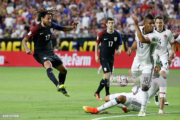 Jermaine Jones of United States shoots the ball against Frank Fabra of Colombia during the second half of the 2016 Copa America Centenario third...