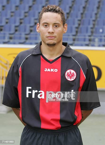 Jermaine Jones poses during the Bundesliga 1st Team Presentation of Eintracht Frankfurt at the Commerzbank Arena on July 14 2006 in Frankfurt Germany